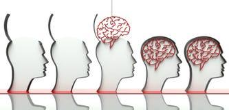Introduzindo cérebros nas cabeças, conceito da inteligência ilustração do vetor