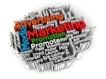 Introduzindo no mercado e anunciando a palavra da nuvem Imagens de Stock Royalty Free
