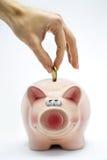 Introduzindo uma moeda no banco piggy cor-de-rosa Fotografia de Stock Royalty Free