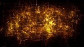introduzione a più strati Logo Motion Background di griglia della rete della matrice dell'oro 3D stock footage