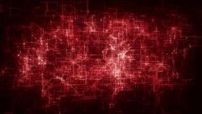 introduzione a più strati rossa Logo Motion Background di griglia della rete della matrice 3D stock footage
