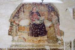 Intronizujący dziecko z pięć aniołami, madonna, Świątobliwy Catherine i adorator i, zdjęcie stock