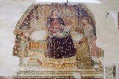 Intronizujący dziecko z pięć aniołami, madonna, Świątobliwy Catherine i adorator i, fotografia stock