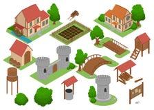 Introspecção estratégica em linha do jogo de vídeo do androide da telha medieval da casa Construções 3D medievais lisas isométric Fotos de Stock