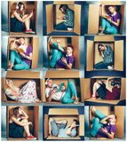 Introvert concept. Collage of man and women sitting inside box. Introvert concept. Collage of men and women sitting inside box and working with phone and laptop royalty free stock image