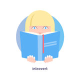 Introvert image. Shy, reticent person. Behavioral type. Flat icon of girl's face hiding behind the book. Modern vector illustration of woman with blond hair Stock Photography