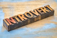 Introvert word in wood type Stock Photos