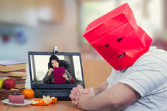 Introverted fat man is frightened at first time online psychiatr Stock Photo