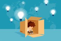 Introvertiertekind im Kasten unter Birnen stock abbildung