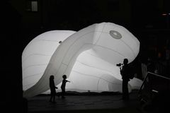 Intrude: Inflatable Rabbit Art Piece royalty free stock images