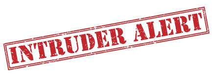 Intruder alert red stamp. On white background Royalty Free Stock Images