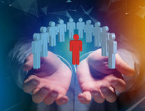Intruder in a group of network people - Business and contact con stock images