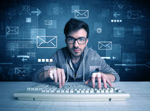 Intruder hacking email passcodes concept Stock Photography