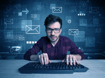 Intruder hacking email passcodes concept Stock Image