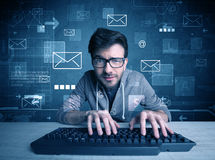 Intruder hacking email passcodes concept Stock Images