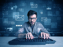 Intruder hacking email passcodes concept Royalty Free Stock Photos