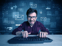 Intruder hacking email passcodes concept Stock Photo