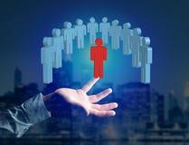 Intrus dans un groupe de personnes de réseau - les affaires et le contact escroquent Photos libres de droits