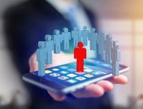 Intrus dans un groupe de personnes de réseau - les affaires et le contact escroquent Images libres de droits