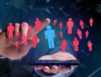 Intrus dans un groupe de personnes de réseau - les affaires et le contact escroquent Images stock