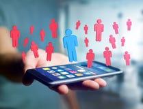 Intrus dans un groupe de personnes de réseau - les affaires et le contact escroquent Image libre de droits