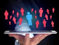 Intrus dans un groupe de personnes de réseau - les affaires et le contact escroquent Photographie stock