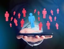 Intrus dans un groupe de personnes de réseau - les affaires et le contact escroquent Image stock