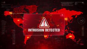 Intrusion detected alert warning attack on screen world map.