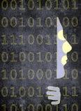 Intrusione di web con la siluetta umana e l'illustrazione digitale di alta qualità di codice binario Immagini Stock Libere da Diritti