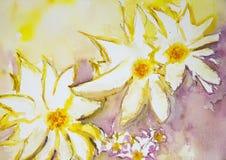 Intryck av lösa blommor mot en guling och en röd bakgrund Arkivbilder