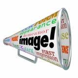 Intryck för utseende för megafon för bildordmegafon Royaltyfri Bild