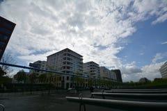 Intryck från den Potsdam fyrkanten, Potsdamer Platz i Berlin från April 11, 2017, Tyskland Royaltyfri Fotografi