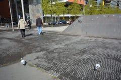 Intryck från den Potsdam fyrkanten, Potsdamer Platz i Berlin från April 11, 2017, Tyskland Fotografering för Bildbyråer