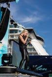 Intryck från dopet av ett skepp Arkivbild