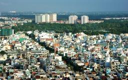 Intryck som är panaromic av den Asien staden på dag Arkivfoto