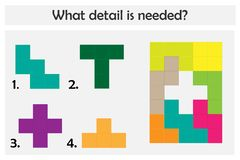Intryguje grę z kolorowymi szczegółami dla dzieci, wybiera potrzebnego szczegół, łatwy poziom, edukacji gra dla dzieciaków, presc royalty ilustracja