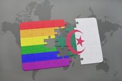 intryguje z flaga państowowa Algeria i homoseksualną tęczy flaga na światowej mapy tle Obraz Royalty Free