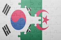 intryguje z flaga państowowa Algeria i południowy Korea Obraz Royalty Free