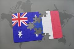 Intryguje z flaga państowowa Australia i France na światowej mapy tle Obraz Royalty Free
