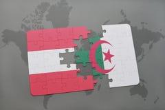 intryguje z flaga państowowa Austria i Algeria na światowej mapy tle Obrazy Royalty Free