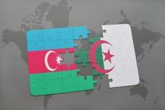 intryguje z flaga państowowa Azerbaijan i Algeria na światowej mapie Obrazy Stock