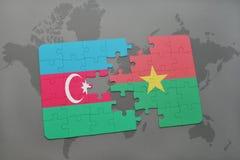 intryguje z flaga państowowa Azerbaijan i burkina faso na światowej mapie Obraz Stock