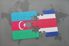 intryguje z flaga państowowa Azerbaijan i costa rica na światowej mapie Zdjęcie Stock