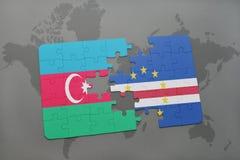 intryguje z flaga państowowa Azerbaijan i przylądka verde na światowej mapie Zdjęcie Royalty Free