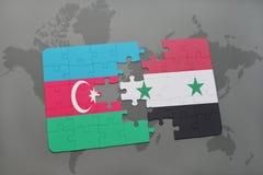 intryguje z flaga państowowa Azerbaijan i Syria na światowej mapie Zdjęcia Stock