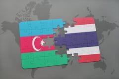 intryguje z flaga państowowa Azerbaijan i Thailand na światowej mapie Obraz Royalty Free