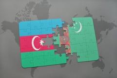intryguje z flaga państowowa Azerbaijan i Turkmenistan na światowej mapie Zdjęcie Royalty Free