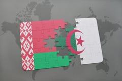 intryguje z flaga państowowa Belarus i Algeria na światowej mapie Obrazy Stock