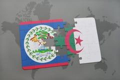 intryguje z flaga państowowa Belize i Algeria na światowej mapie Zdjęcie Royalty Free