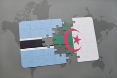 intryguje z flaga państowowa Botswana i Algeria na światowej mapie Zdjęcia Royalty Free